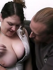 Sleazy Plus-size bi-atch in nylon ruins family by pummeling her married customer