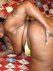 Chunky black chick Afrodisia uncovers her humungous plump ass while she gets her punany filled