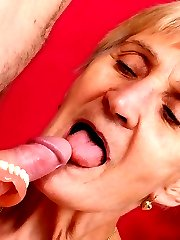 Naughty elderly pornstar Irene shows off her sagged breasts to lure a guy into lending her his dick