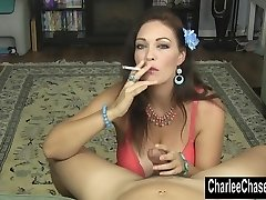 Smoking Hot Cougar Charlee Chase Jerks a Hard Beef Whistle!