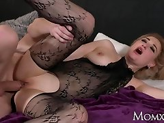 MOM Wet big tits Cougar in bodystocking unloading and rimming