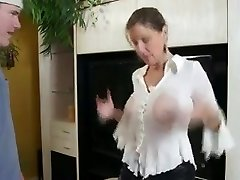Busty Mom Shows Him Her Giant Bumpers And Tight Pussy