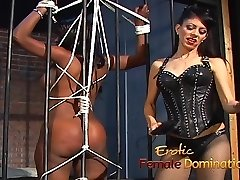 Jailed ebony gal punished by domina Natasha after being