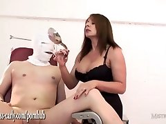 Chesty nurse Mistress fits spunk pump to slaves jizz-shotgun and fucks his tight donk