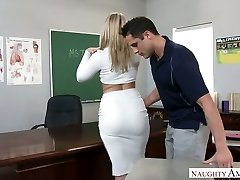 Extremely uber-sexy big racked ash-blonde schoolteacher was fucked right on the table