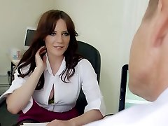 Mature thirsty boss mouth fucks big titted brunette strumpet in his office hard