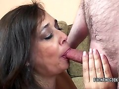 Big-boobed housewife Alesia Pleasure is swallowing a stiff cock