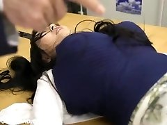 Fat busty asian babe playing with folks at the office