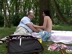 OLD YOUNG Romantic Sex Between Fat Old Man and Mind-blowing Teenage Girl