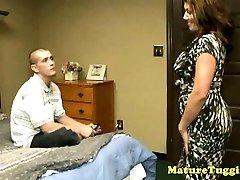 Bigboobs milf mature seduces hard cock