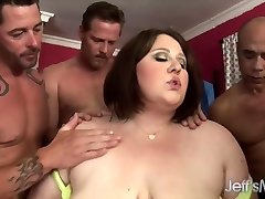 Horny BBW Khole Kanyon group-fucked.