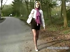 Super-fucking-hot light-haired shows her silky long legs and sexy nylon feet