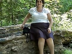 Upskirt rump in the woods part two