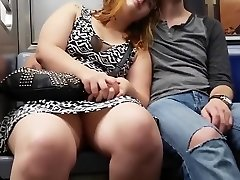 Fat chick on the subway sits with her gams open