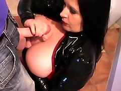 Latex Slut in the Kitchen - Spandex Blowage Handjob - Jizm on my Tits