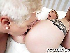 Chubby granny Astrid in hot lesbian fucky-fucky with horny ultra-cute Lulu