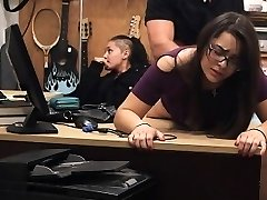 Store Lifting Brunette In Glasses Takes Facial In Pawn Store