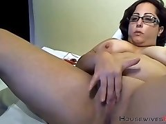 Booty granny bbc lover with fabulous glasses masturbates