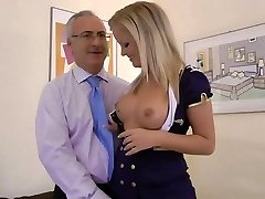 Senior man meets a cute stewardess