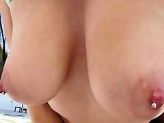 Katrina And Her Pierced Ample Bumpers Swallowing Meat