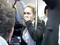 Horny blond groped to multiple ejaculation on bus & fucked