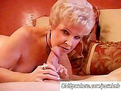Stellar cougar sucks cock and eats cum