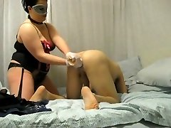 BBW domme destroys his ass with fist and cable on