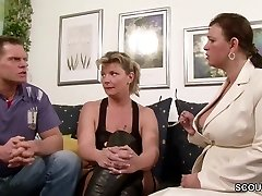 German Fat Tit Cougar Teach Couple to Have more Joy at Sex