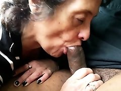 Amateur Granny Deep-throats Off a Black Stranger