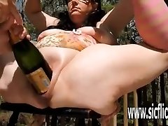 Extreme double going knuckle deep and giant bottle insertions