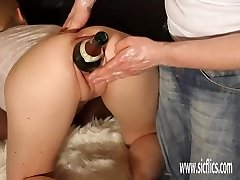 Huge double going knuckle deep and bottle insertions