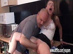 Fat aged pervert fisting her ruined nubile snatch