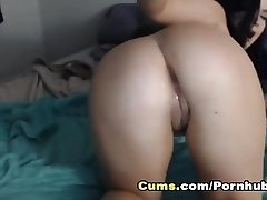 Crazy Camgirl Insert Dildo on Her Tight Pink