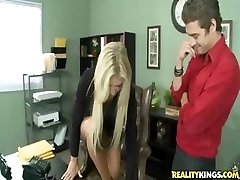 Big-chested light-haired is told what to do by her manager at work and does it