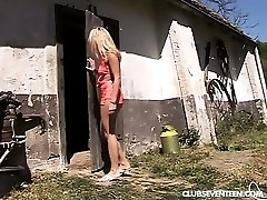 Platinum-blonde teen gets fucked in the barn