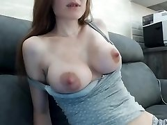 Beautiful multiorgasmic girl with ideal natural boobs