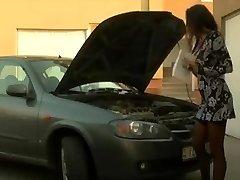 Busty Brunette - Gets Buttfuck Assistance From Mechanic