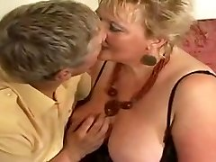 Large golden-haired grannie drilled by young dude