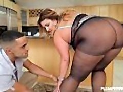 Sexy Big Butt BBW Honey Gets Fucked in Tights in Kitchen