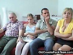 Senior couple seduces newlyweds