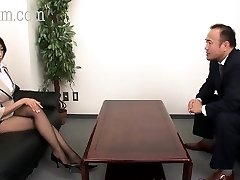 Japanese Pantyhose beauty with big hooters gets a cumshot