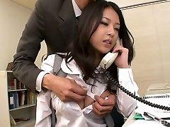 Incredible kawaii Japanese office slut sucks 2 strong cocks at work