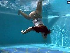 Puzan Bruhova fat teenage in the pool