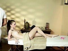Babe face fucks masseur
