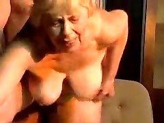 Blond chubby grandma.