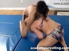 Tight Choke Submission Between Authoritative Girl on academy wrestling
