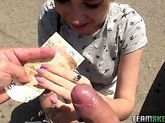 Cute teenage Arteya shows her tits and pummels for money