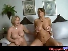 Two huge-boobed milfs in a threesome with one lucky man