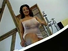 British Busty Milf gets banged in the bathroom