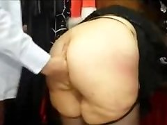 Chubby french Cougar with a huge bum fucked in a sex shop